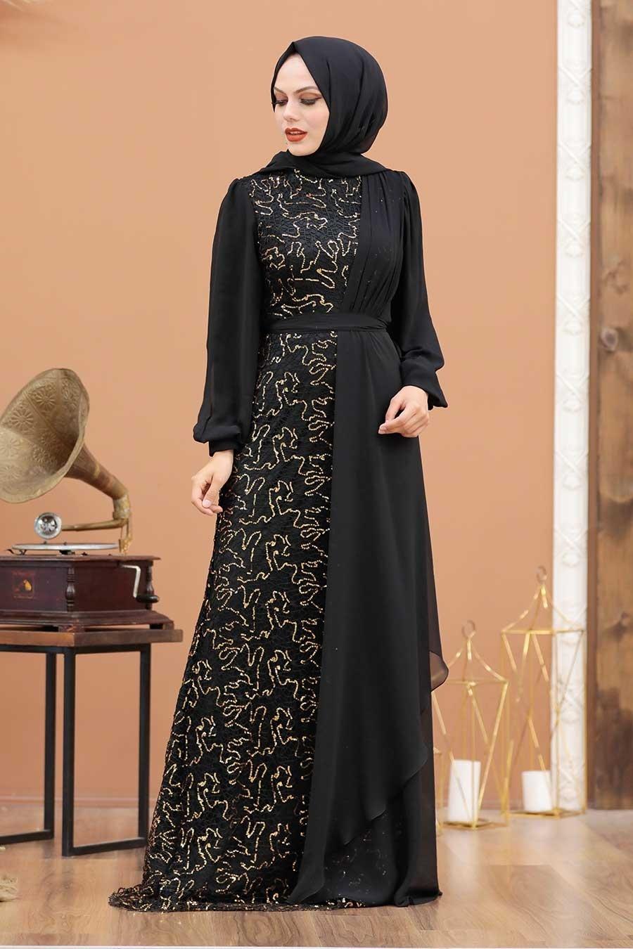 Tesettürlü Abiye Elbise - Şifon Detaylı Pul Payet Gold Tesettür Abiye Elbise 5516GOLD