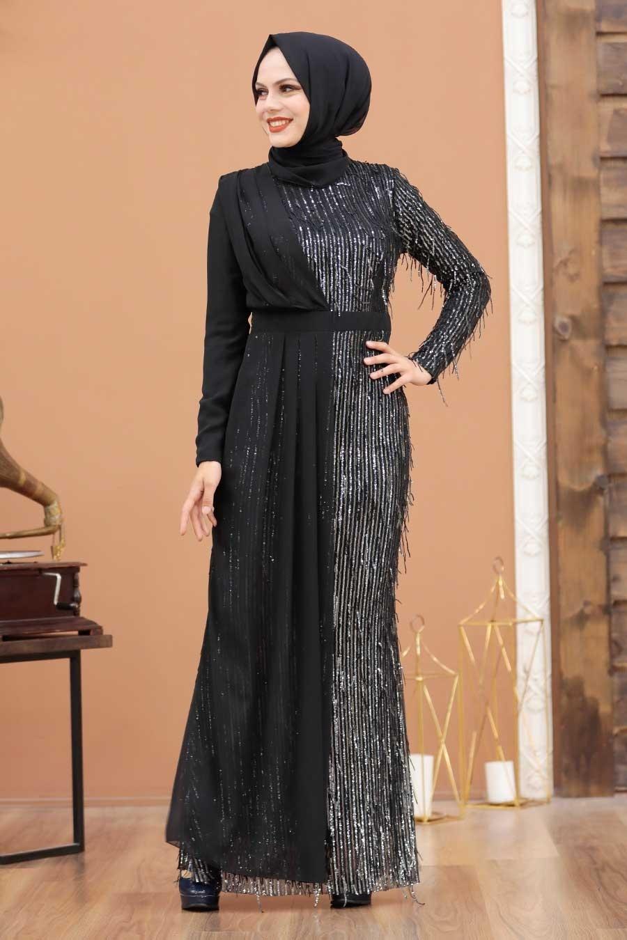 Tesettürlü Abiye Elbise - Şifon Detaylı Pul Payet Gümüş Tesettür Abiye Elbise 34291GMS