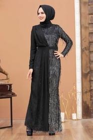 Tesettürlü Abiye Elbise - Şifon Detaylı Pul Payet Gümüş Tesettür Abiye Elbise 34291GMS - Thumbnail