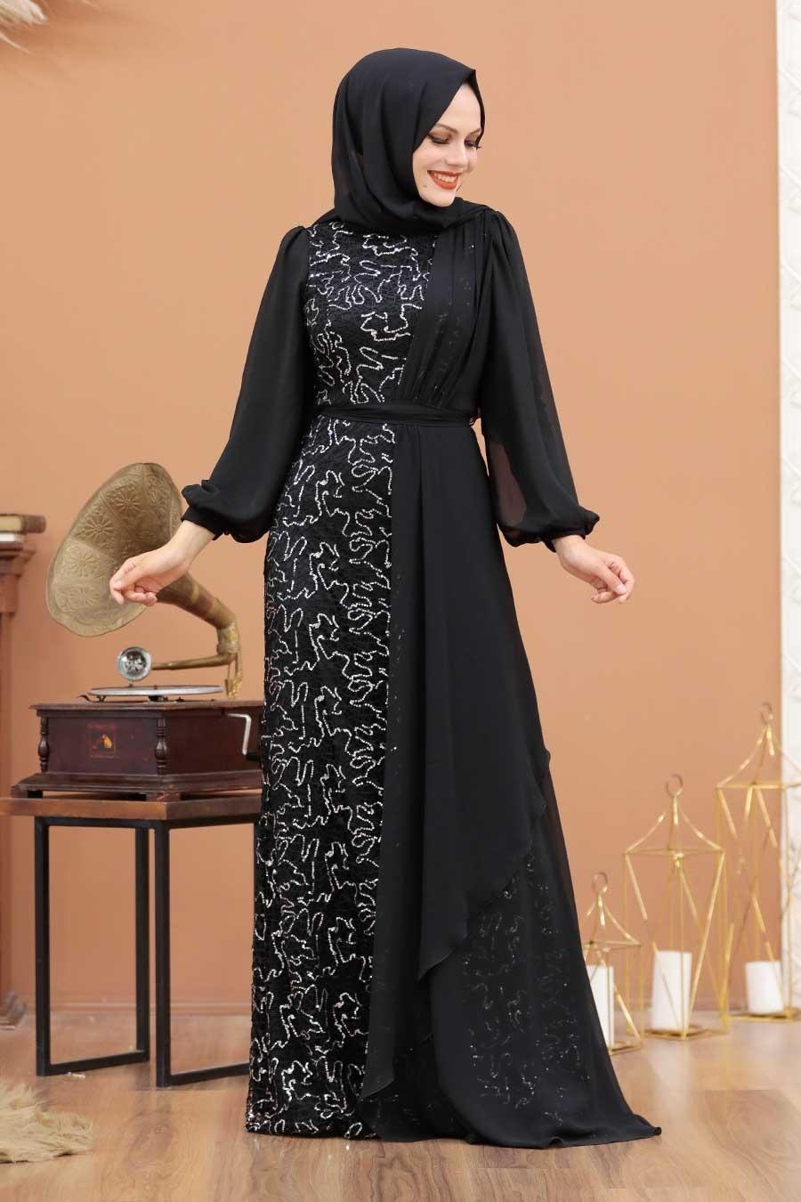 Tesettürlü Abiye Elbise - Şifon Detaylı Pul Payet Gümüş Tesettür Abiye Elbise 5516GMS