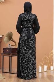 Tesettürlü Abiye Elbise - Şifon Detaylı Pul Payet Gümüş Tesettür Abiye Elbise 5516GMS - Thumbnail
