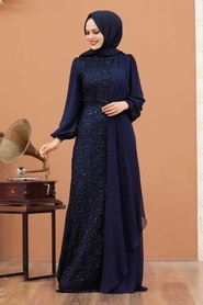 Tesettürlü Abiye Elbise - Şifon Detaylı Pul Payet Lacivert Tesettür Abiye Elbise 5516L - Thumbnail