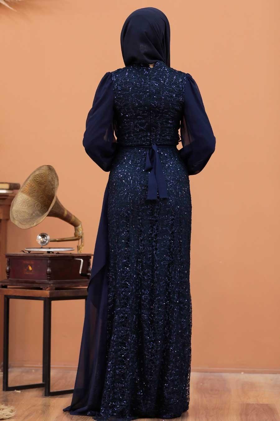 Tesettürlü Abiye Elbise - Şifon Detaylı Pul Payet Lacivert Tesettür Abiye Elbise 5516L