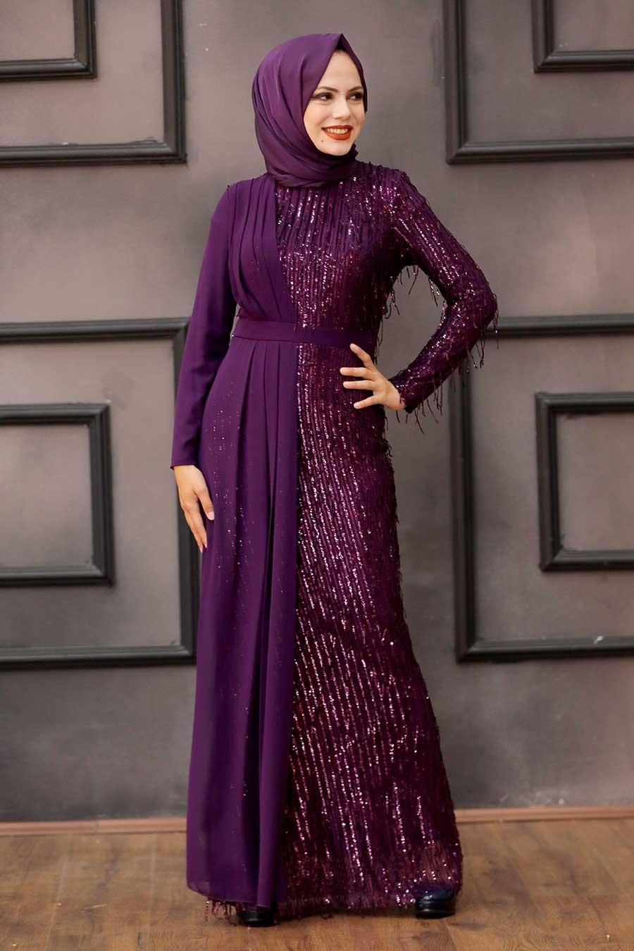 Tesettürlü Abiye Elbise - Şifon Detaylı Pul Payet Mor Tesettür Abiye Elbise 34291MOR