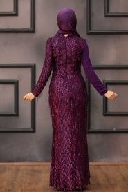 Tesettürlü Abiye Elbise - Şifon Detaylı Pul Payet Mor Tesettür Abiye Elbise 34291MOR - Thumbnail