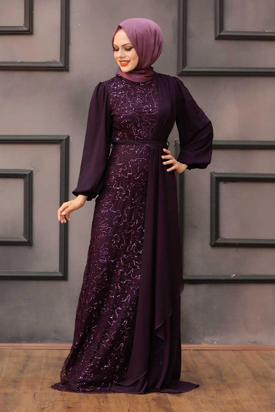 Tesettürlü Abiye Elbise - Şifon Detaylı Pul Payet Mürdüm Tesettür Abiye Elbise 5516MU