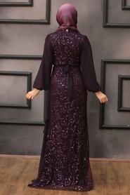 Tesettürlü Abiye Elbise - Şifon Detaylı Pul Payet Mürdüm Tesettür Abiye Elbise 5516MU - Thumbnail