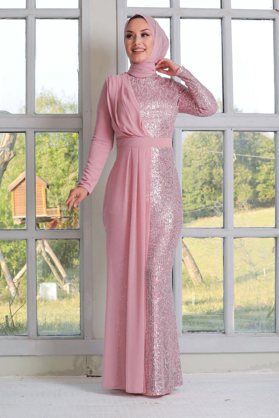 Tesettürlü Abiye Elbise - Şifon Detaylı Pul Payet Pembe Tesettür Abiye Elbise 34290P
