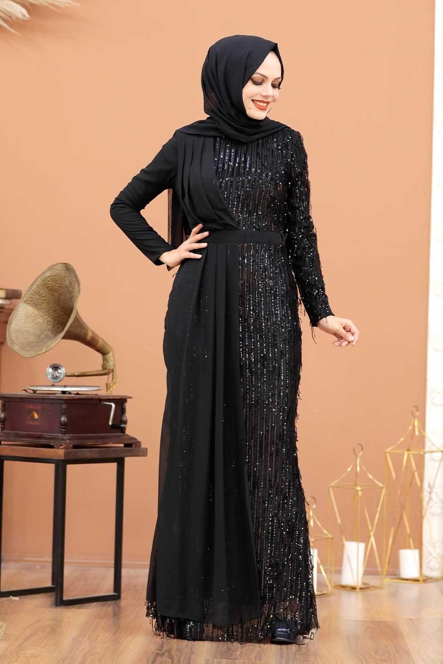 Tesettürlü Abiye Elbise - Şifon Detaylı Pul Payet Siyah Tesettür Abiye Elbise 34291S