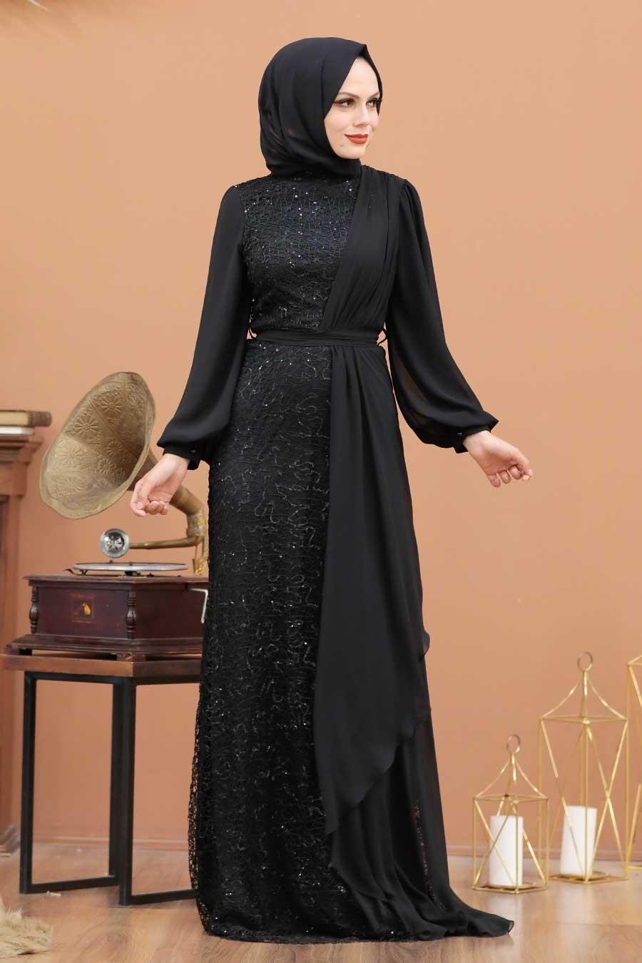 Tesettürlü Abiye Elbise - Şifon Detaylı Pul Payet Siyah Tesettür Abiye Elbise 5516S