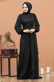Tesettürlü Abiye Elbise - Şifon Detaylı Pul Payet Siyah Tesettür Abiye Elbise 5516S - Thumbnail