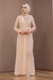 Tesettürlü Abiye Elbise - Şifon Detaylı Pul Payet Somon Tesettür Abiye Elbise 34291SMN - Thumbnail