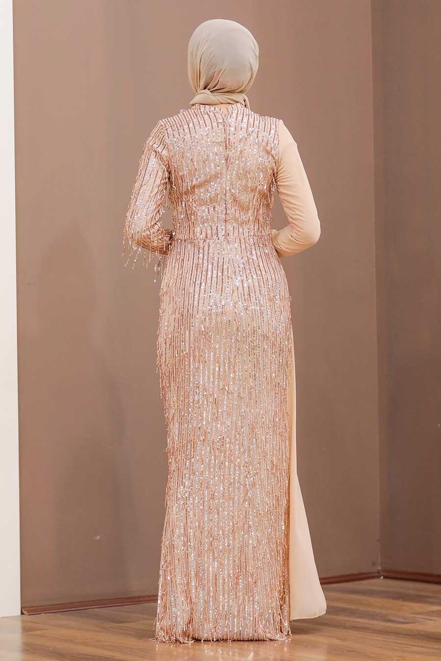 Tesettürlü Abiye Elbise - Şifon Detaylı Pul Payet Somon Tesettür Abiye Elbise 34291SMN