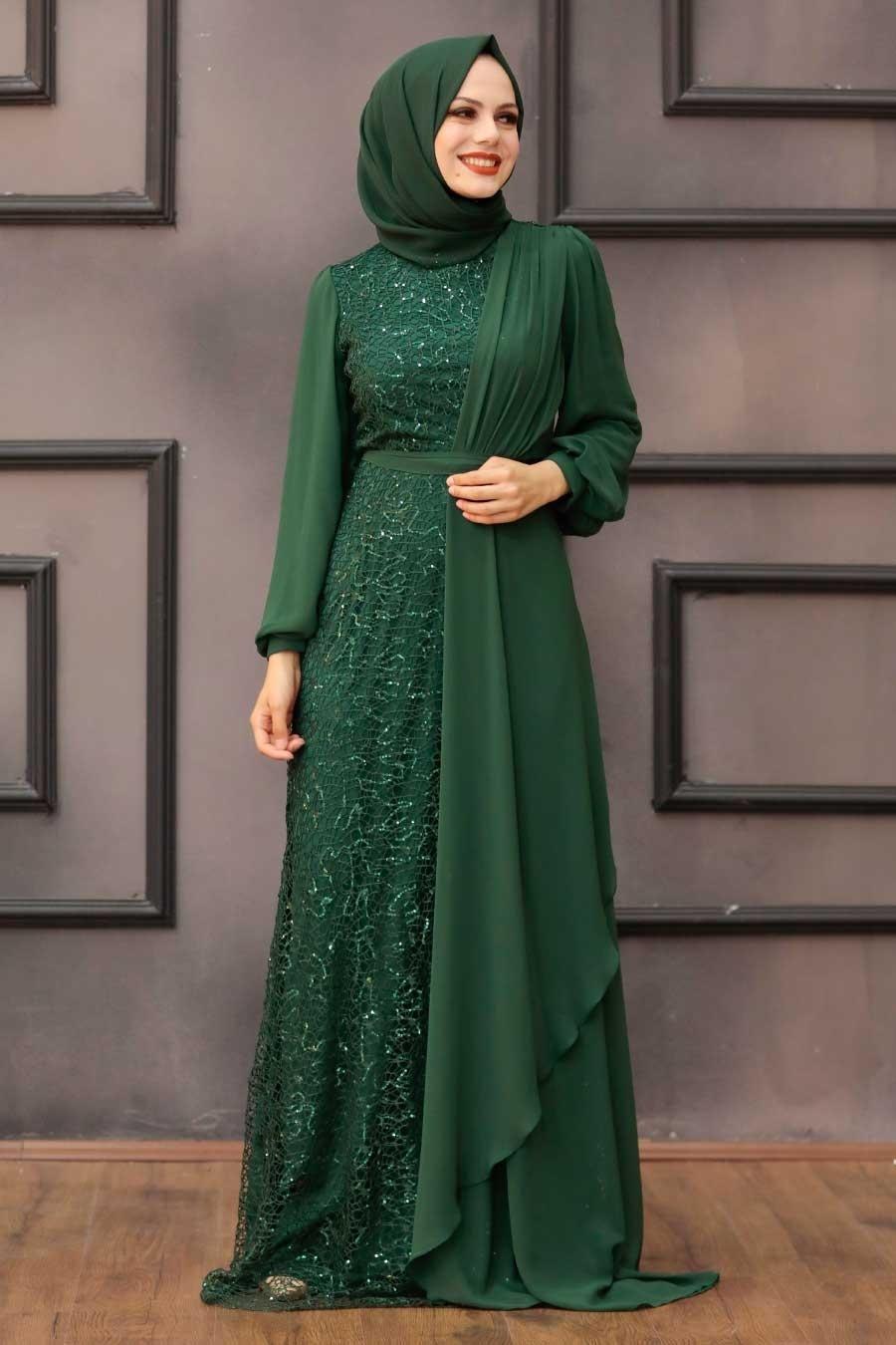 Tesettürlü Abiye Elbise - Şifon Detaylı Pul Payet Yeşil Tesettür Abiye Elbise 5516Y