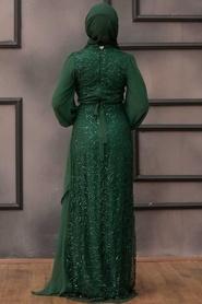 Tesettürlü Abiye Elbise - Şifon Detaylı Pul Payet Yeşil Tesettür Abiye Elbise 5516Y - Thumbnail