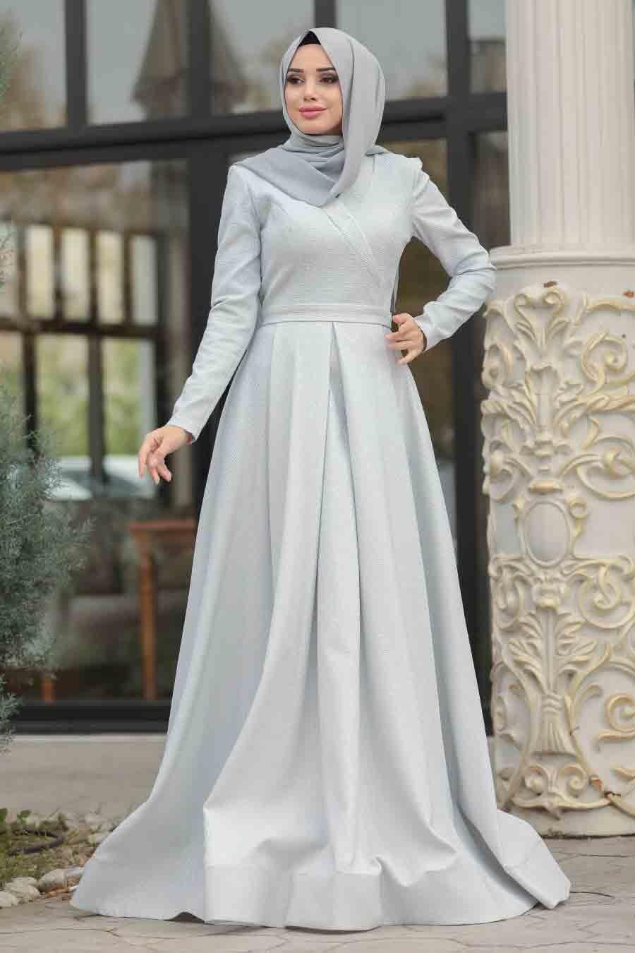 Tesettürlü Abiye Elbise - Simli Beyaz Tesettür Abiye Elbise 4580B