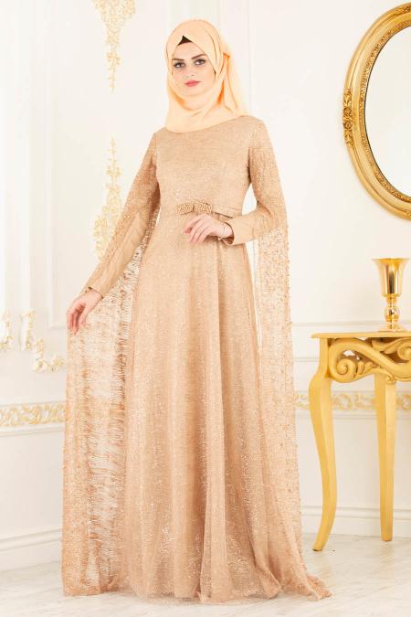 Tesettürlü Abiye Elbise - Simli Bisküvi Renk Tesettür Abiye Elbise 3247BS