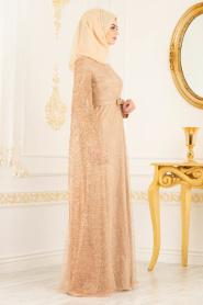 Tesettürlü Abiye Elbise - Simli Bisküvi Renk Tesettür Abiye Elbise 3247BS - Thumbnail