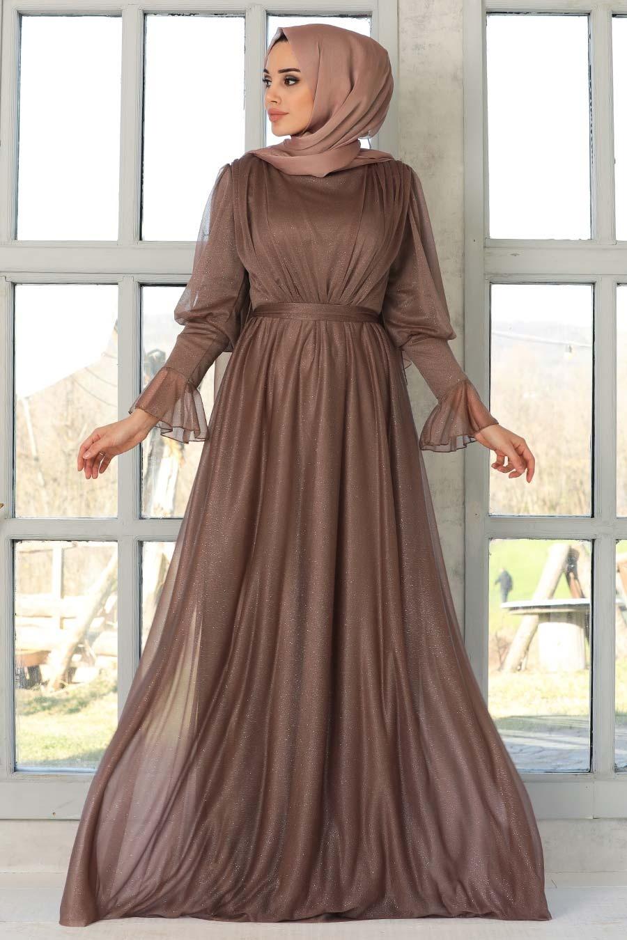 Tesettürlü Abiye Elbise - Simli Koyu Vizon Tesettür Abiye Elbise 5367KV