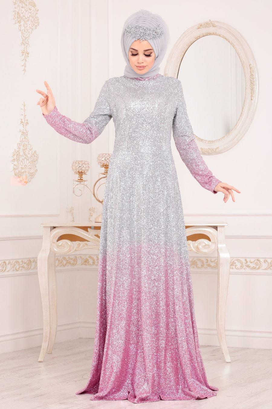 Tesettürlü Abiye Elbise - Simli Pembe Tesettür Abiye Elbise 8508P