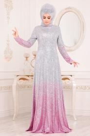 Tesettürlü Abiye Elbise - Simli Pembe Tesettür Abiye Elbise 8508P - Thumbnail