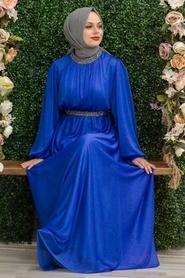 Tesettürlü Abiye Elbise - Simli Sax Mavisi Tesettür Abiye Elbise 5501SX - Thumbnail