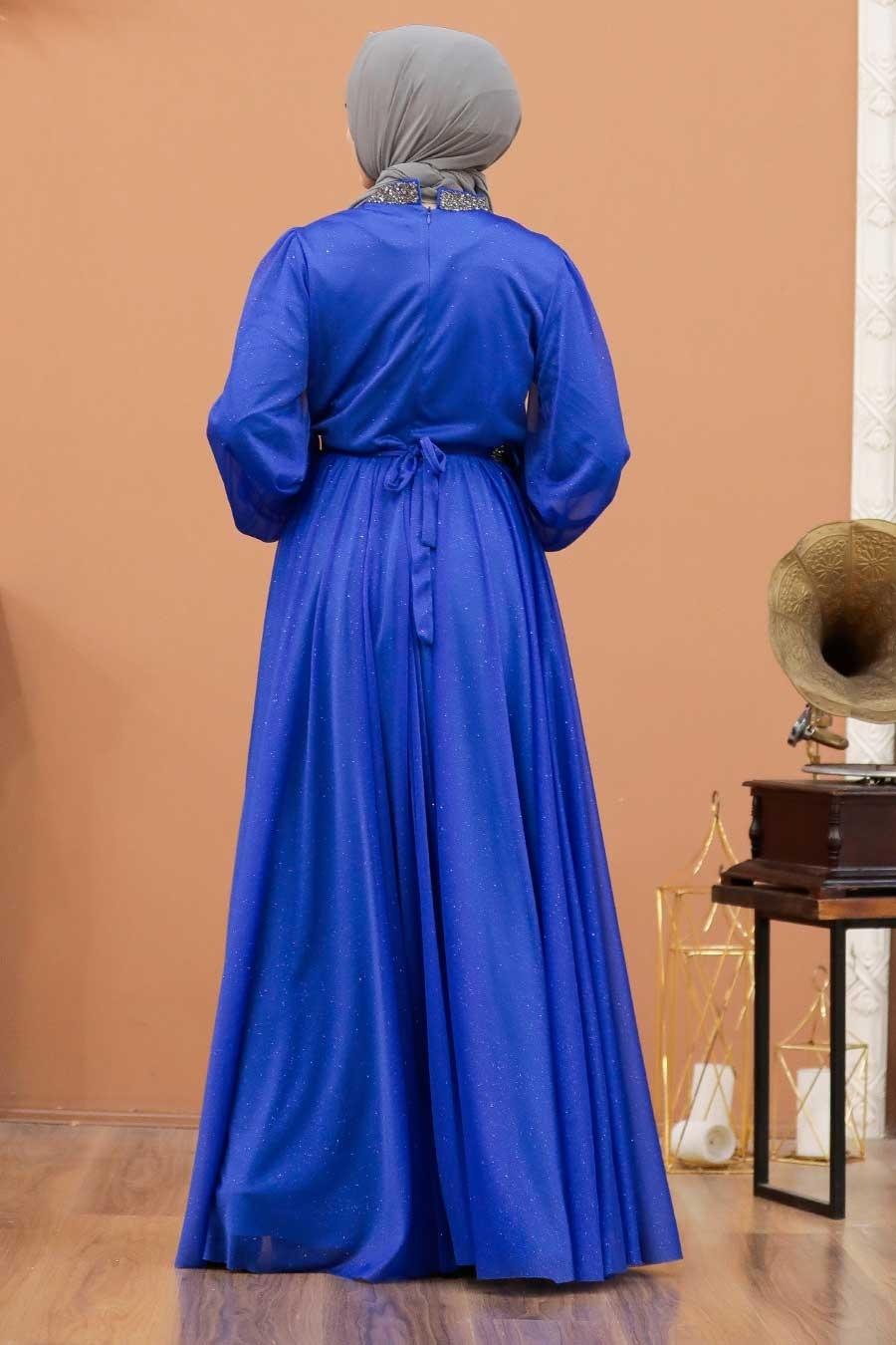 Tesettürlü Abiye Elbise - Simli Sax Mavisi Tesettür Abiye Elbise 5501SX