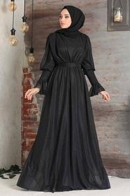 Tesettürlü Abiye Elbise - Simli Siyah Tesettür Abiye Elbise 5367S - Thumbnail