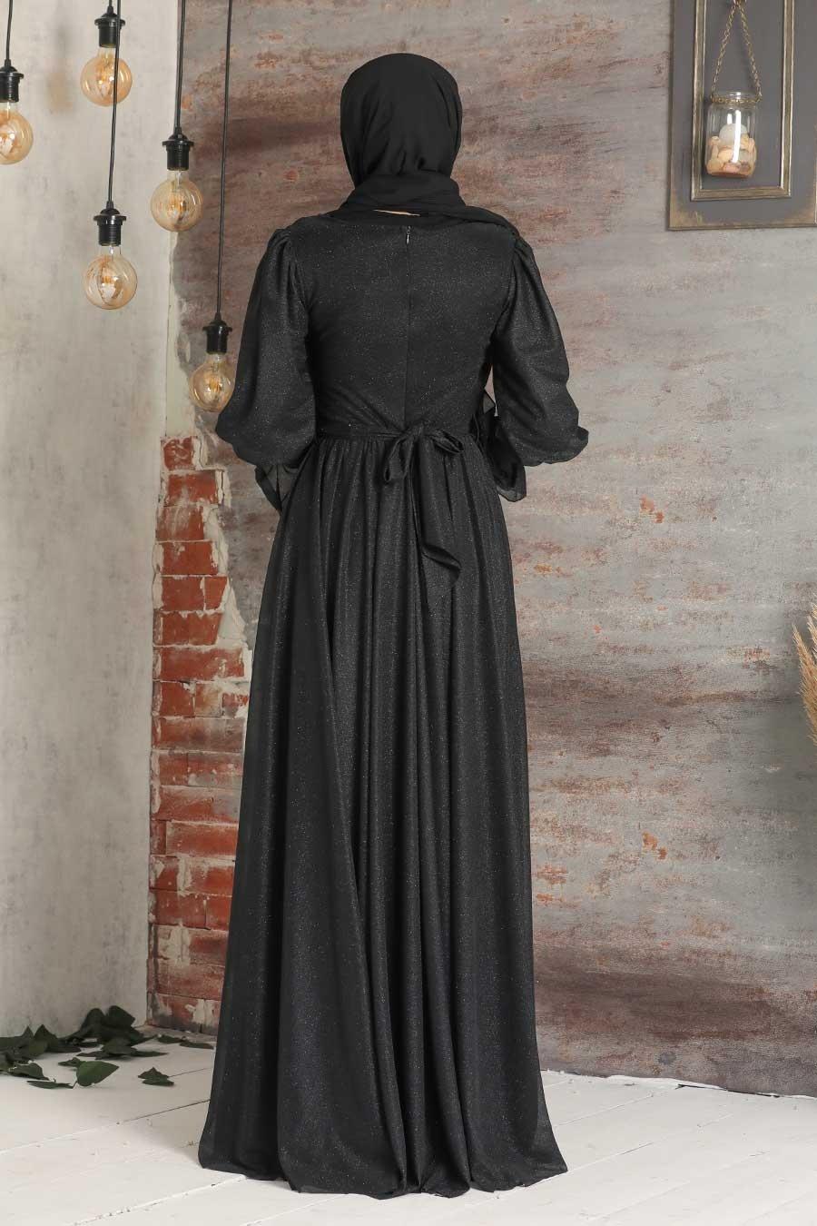 Tesettürlü Abiye Elbise - Simli Siyah Tesettür Abiye Elbise 5367S