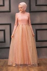 Tesettürlü Abiye Elbise - Simli Somon Tesettür Abiye Elbise 36501SMN - Thumbnail