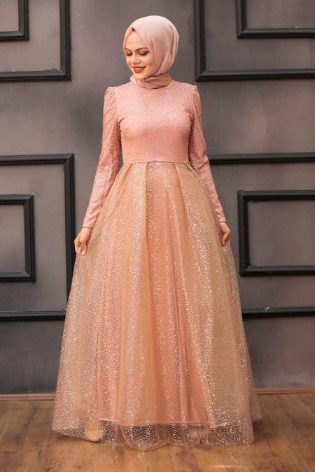 Tesettürlü Abiye Elbise - Simli Somon Tesettür Abiye Elbise 36501SMN