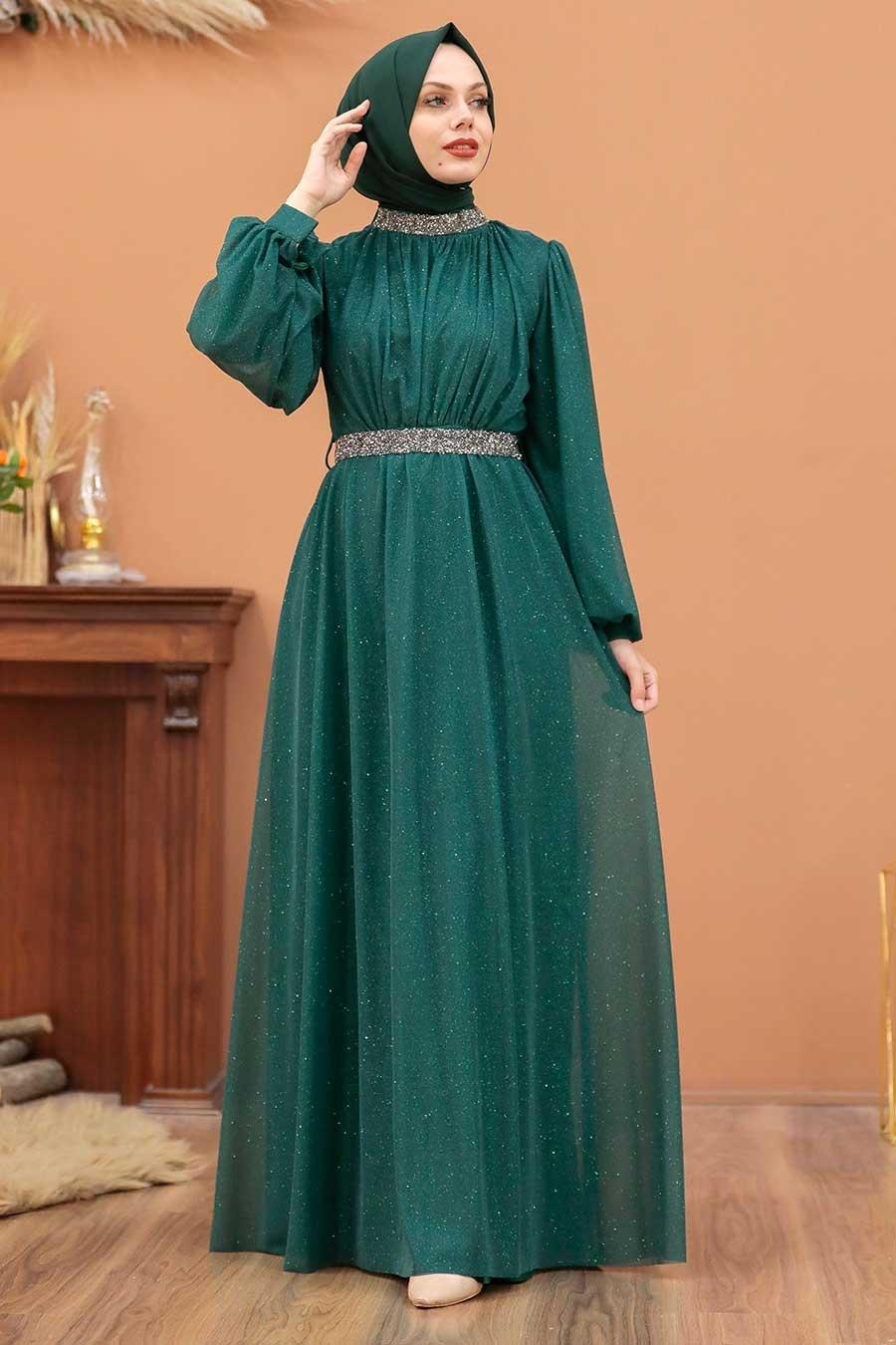 Tesettürlü Abiye Elbise - Simli Yeşil Tesettür Abiye Elbise 5501Y
