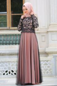 Tesettürlü Abiye Elbise - Siyah Dantelli Somon Tesettür Abiye Elbise 7727SMN - Thumbnail