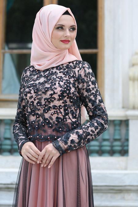Tesettürlü Abiye Elbise - Siyah Dantelli Somon Tesettür Abiye Elbise 7727SMN