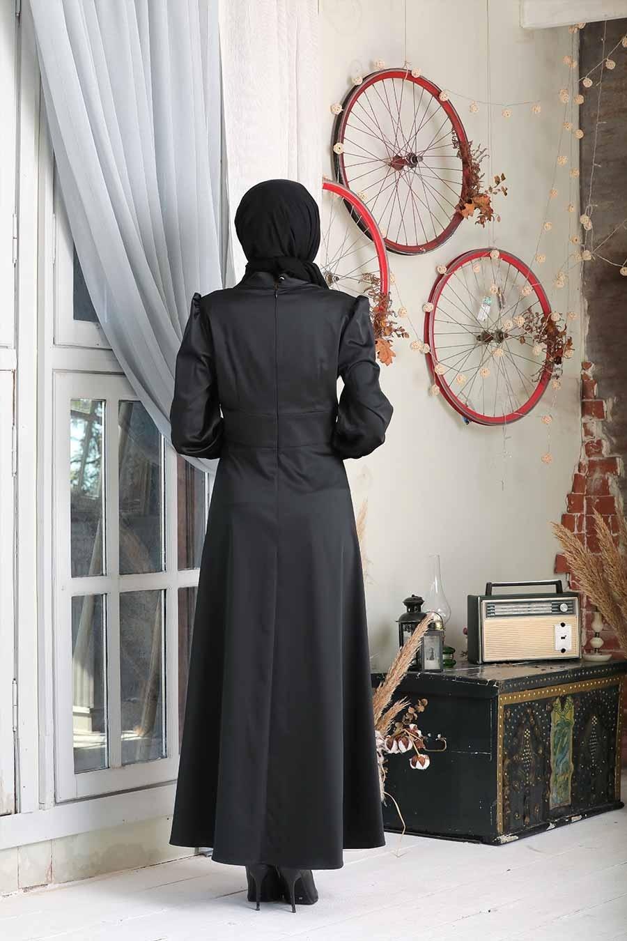 Tesettürlü Abiye Elbise - Siyah Tesettür Abiye Elbise 7627S