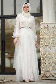 Tesettürlü Abiye Elbise - Tüllü Ekru Tesettür Abiye Elbise 39480E - Thumbnail