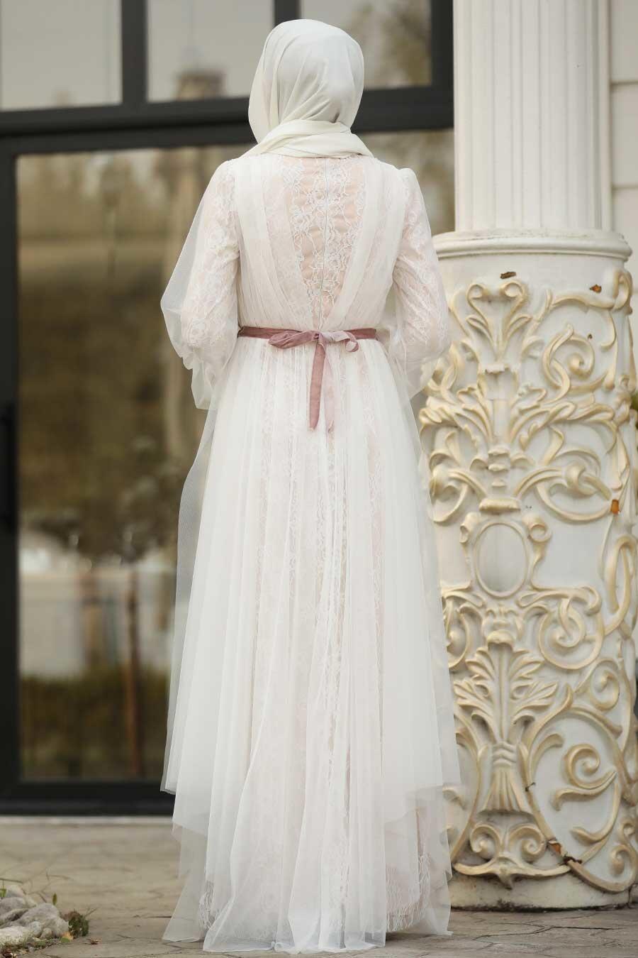 Tesettürlü Abiye Elbise - Tüllü Ekru Tesettür Abiye Elbise 39480E