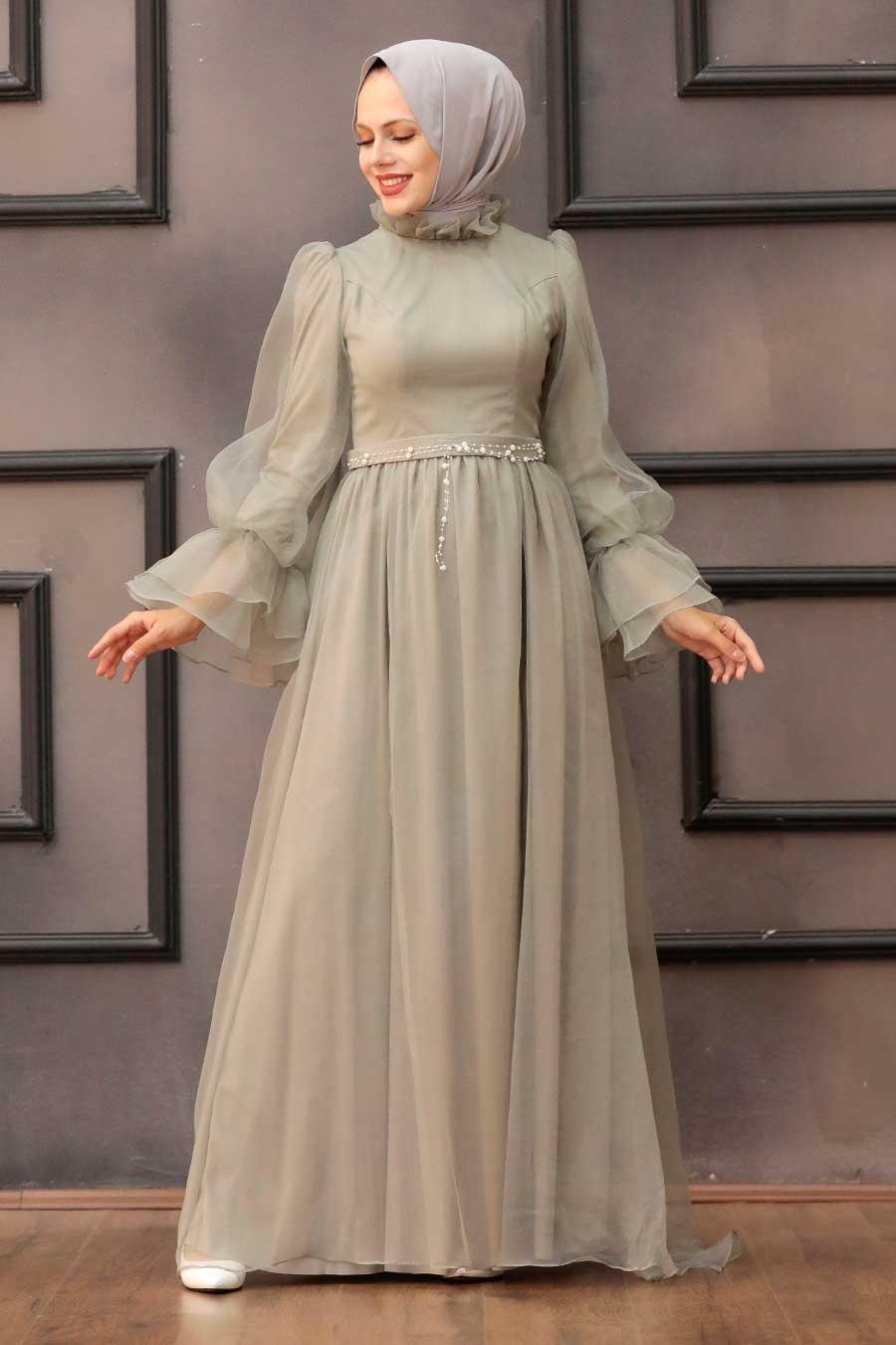 Tesettürlü Abiye Elbise - Tüllü Mint Tesettür Abiye Elbise 40420MINT