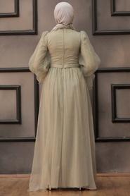 Tesettürlü Abiye Elbise - Tüllü Mint Tesettür Abiye Elbise 40420MINT - Thumbnail