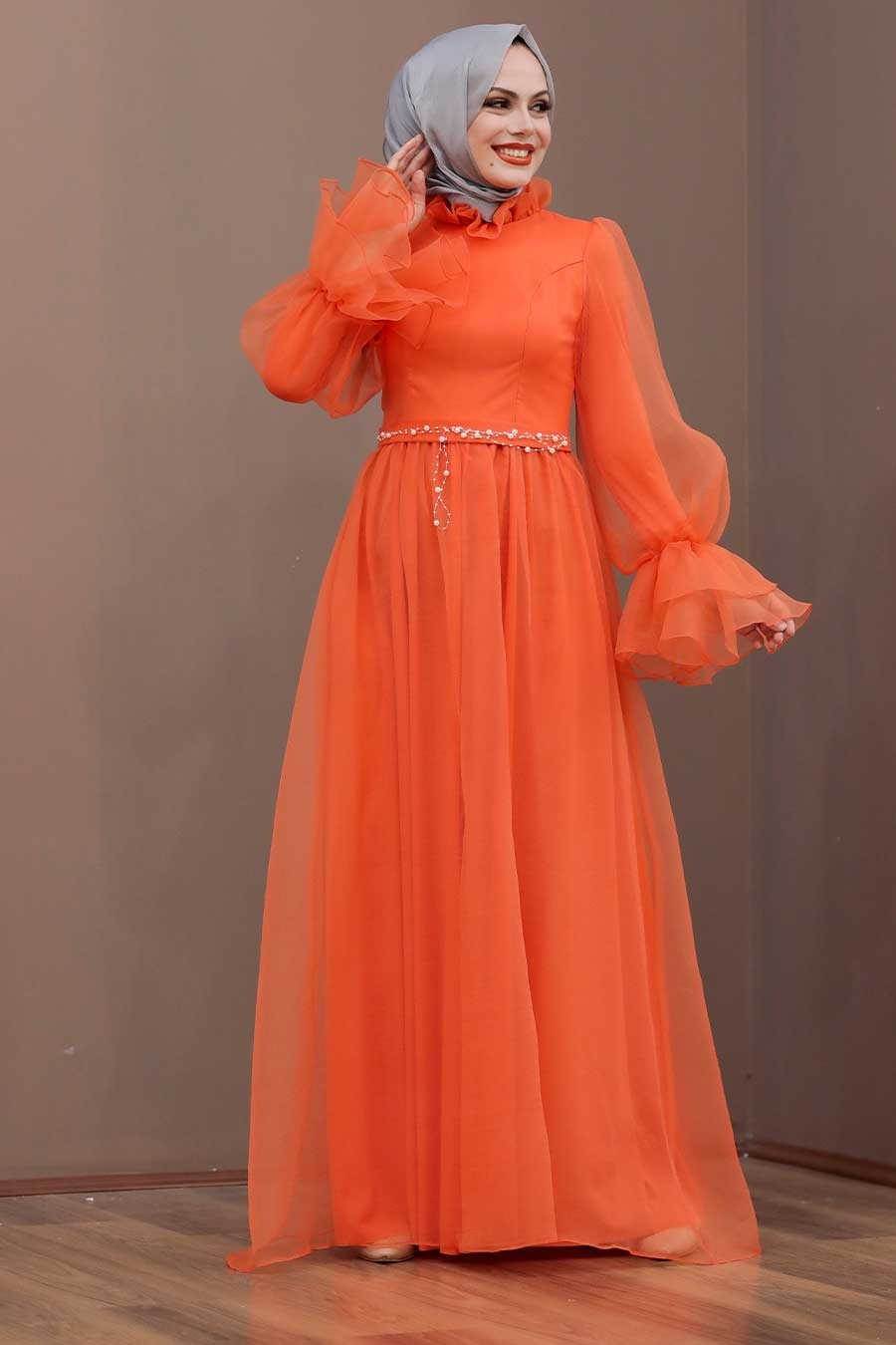 Tesettürlü Abiye Elbise - Tüllü Turuncu Tesettür Abiye Elbise 40420T