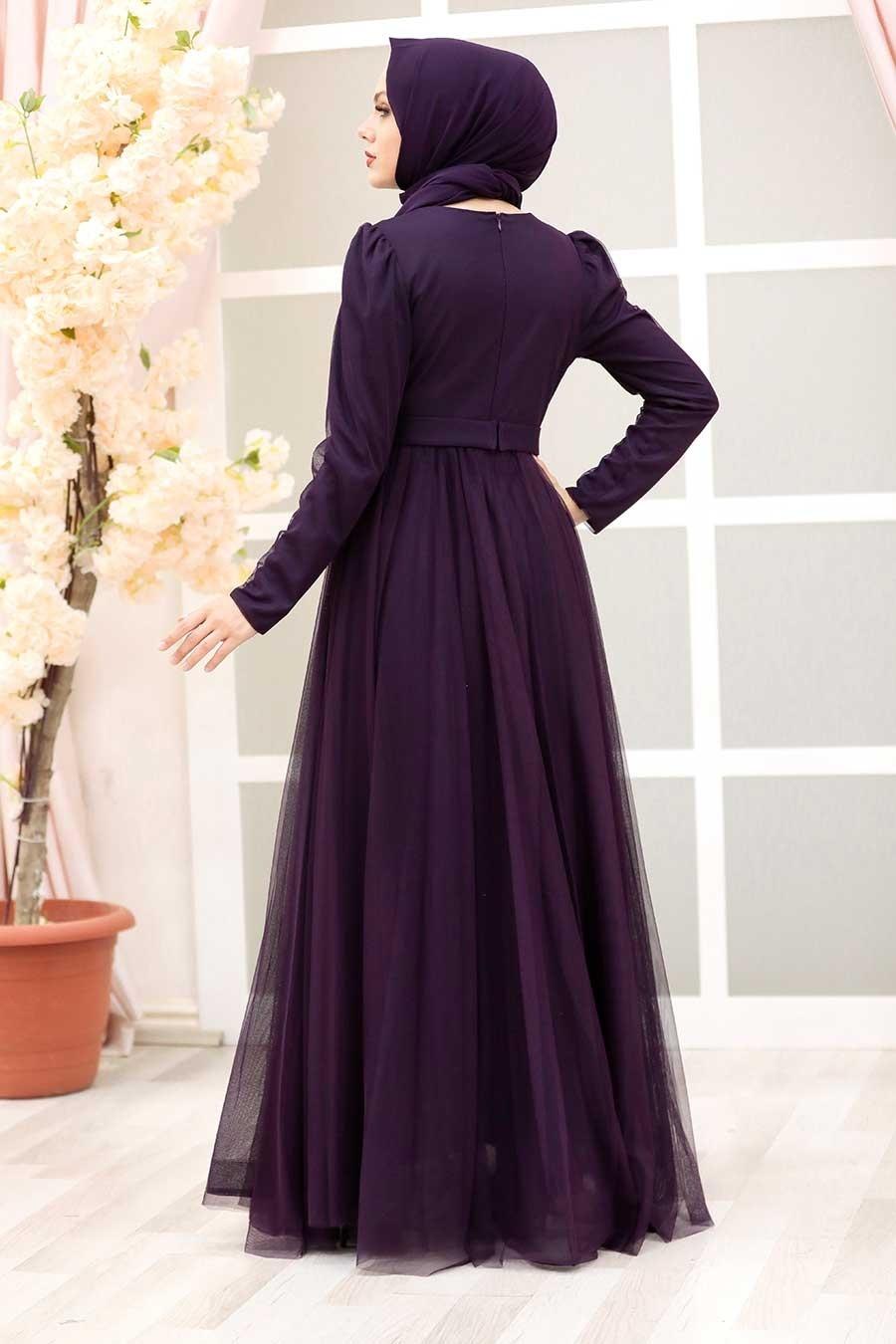 Tesettürlü Abiye Elbise - Tüy Detaylı Mor Tesettür Abiye Elbise 23341MOR