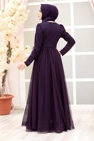 Tesettürlü Abiye Elbise - Tüy Detaylı Mor Tesettür Abiye Elbise 23341MOR - Thumbnail