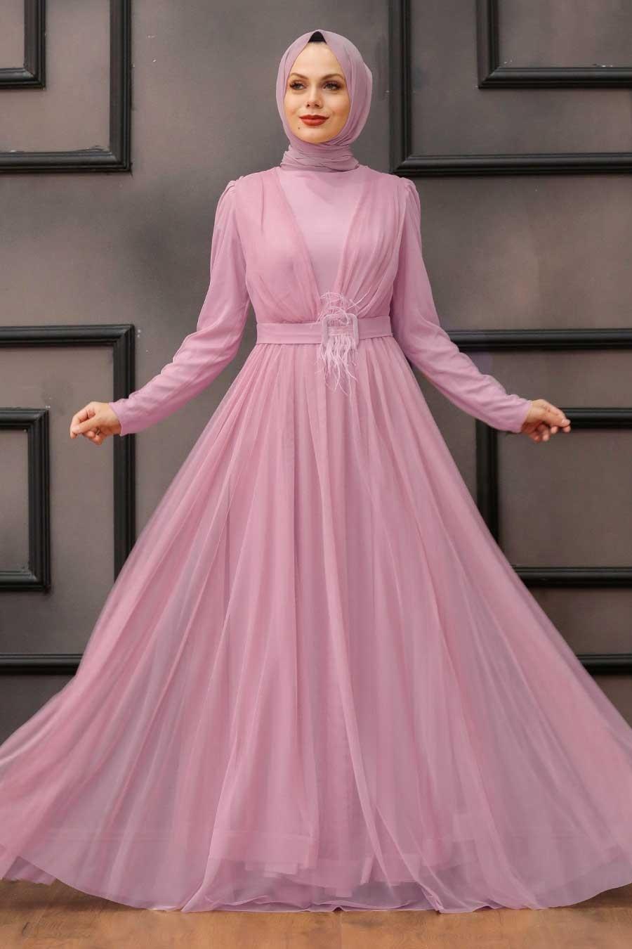 Tesettürlü Abiye Elbise - Tüy Detaylı Pudra Tesettür Abiye Elbise 23341PD