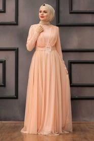 Tesettürlü Abiye Elbise - Tüy Detaylı Somon Tesettür Abiye Elbise 23341SMN - Thumbnail