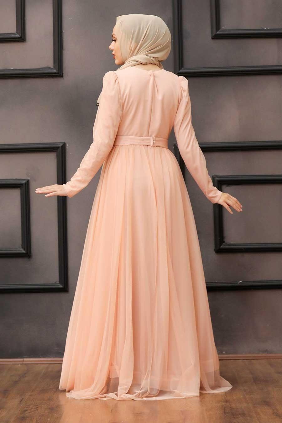 Tesettürlü Abiye Elbise - Tüy Detaylı Somon Tesettür Abiye Elbise 23341SMN