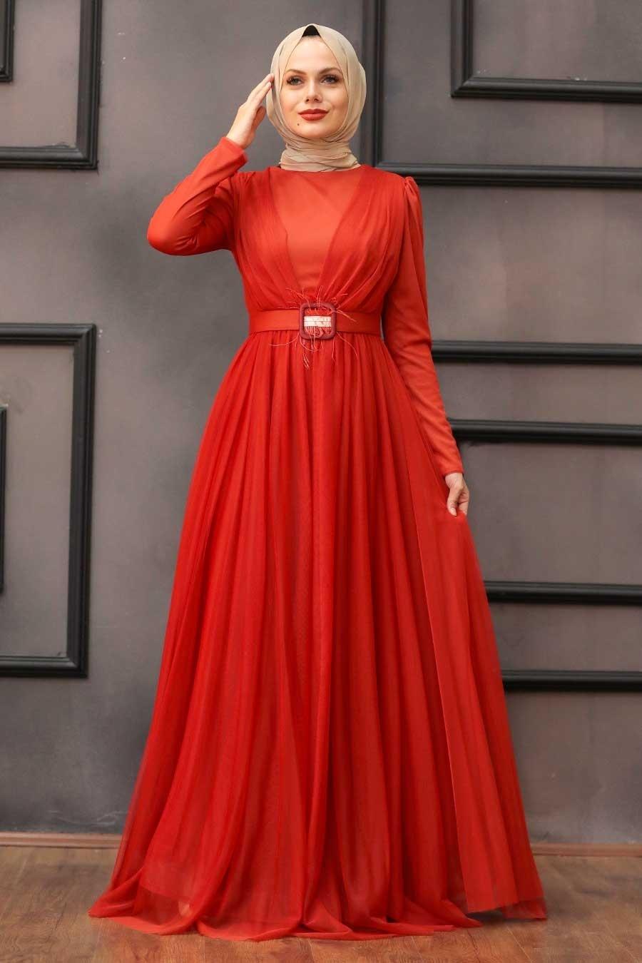 Tesettürlü Abiye Elbise - Tüy Detaylı Turuncu Tesettür Abiye Elbise 23341T