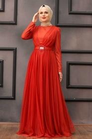 Tesettürlü Abiye Elbise - Tüy Detaylı Turuncu Tesettür Abiye Elbise 23341T - Thumbnail