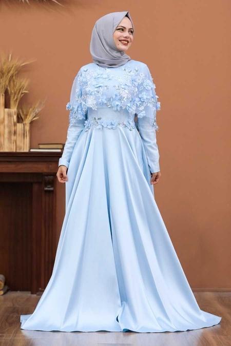 Tesettürlü Abiye Elbise - Üç Boyut Çiçekli Bebek Mavisi Tesettür Abiye Elbise 43740BM