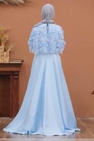 Tesettürlü Abiye Elbise - Üç Boyut Çiçekli Bebek Mavisi Tesettür Abiye Elbise 43740BM - Thumbnail