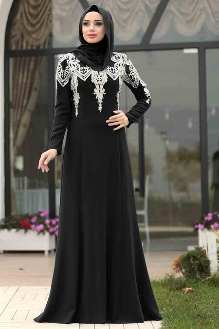 Tesettürlü Abiye Elbise - Üstü Dantel Detaylı Siyah Tesettür Abiye Elbise 20130S